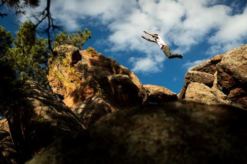 Parkour athlete Nick Ortiz in Boulder, Colorado