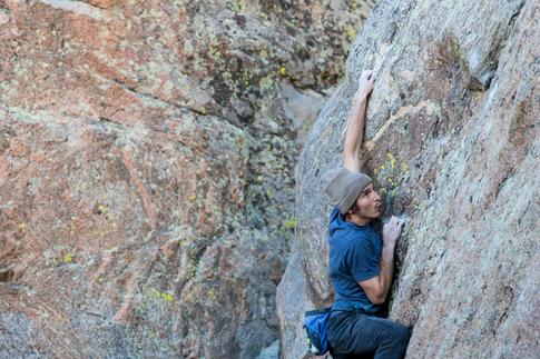 Daniel Woods climbing in Wyoming