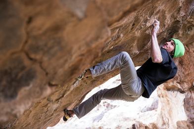 Daniel Woods climbing in Hueco Tanks, TX