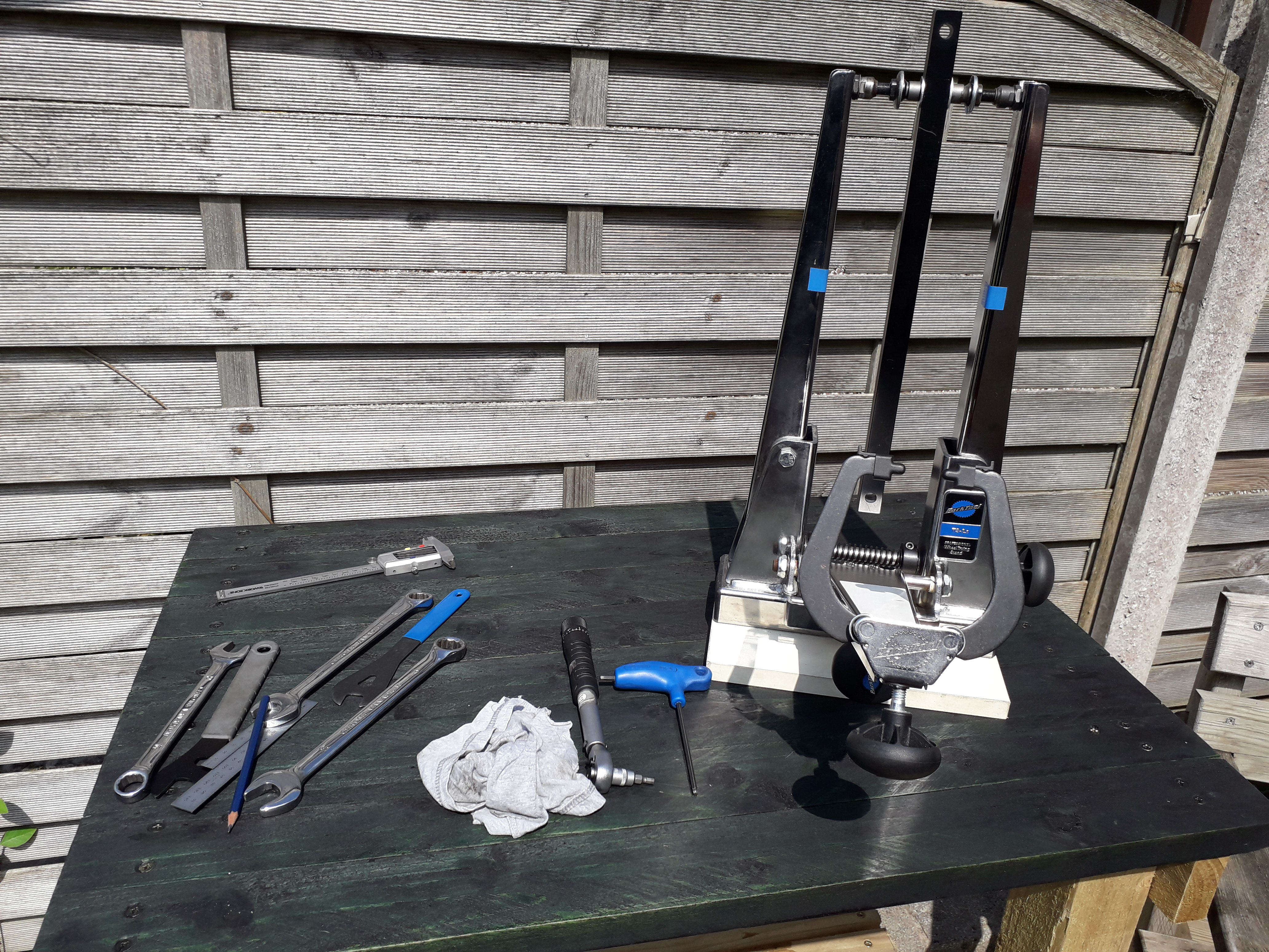 Calibrating the wheel truing stand