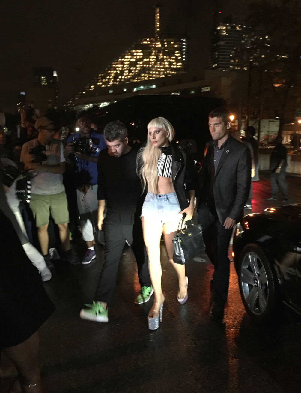 Lady Gaga entering the Alexander Wang Show