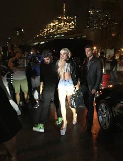 Lady Gaga entering the Alexander Wang Show