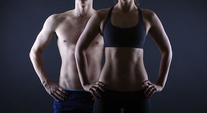 Man and woman's torso isolated on a blac