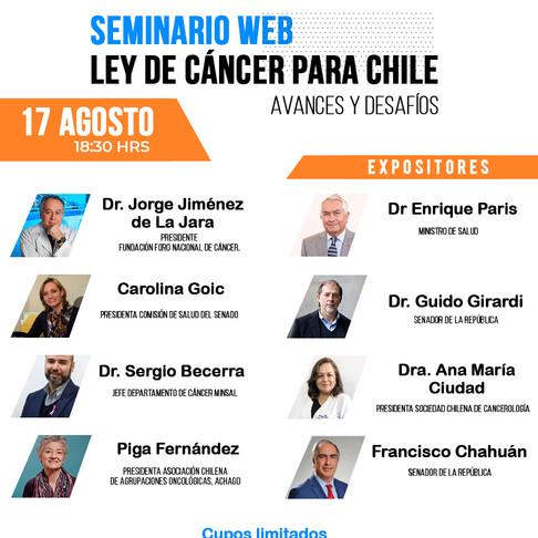 """Seminario web """"Ley de Cáncer para Chile, avances y desafíos"""""""