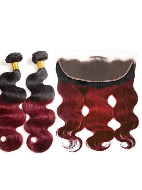 BURGUNDY BODY WAVE OMBRE FRONTAL