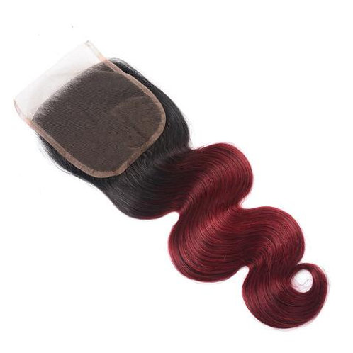 BURGUNDY BODY WAVE OMBRE CLOSURE