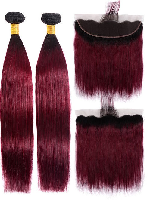 BURGUNDY SILK STRAIGHT OMBRE FRONTAL
