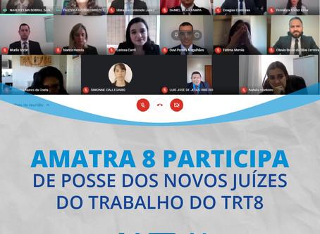 AMATRA 8 participa da posse virtual dos 7 novos magistrados da 8ª Região
