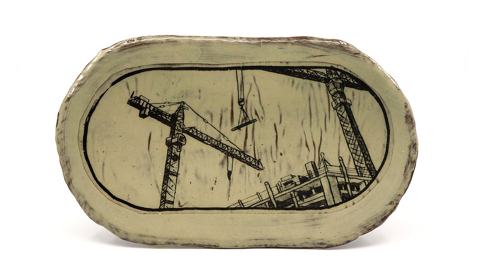 """""""Cranes at Construction Site"""" Sushi Tray"""