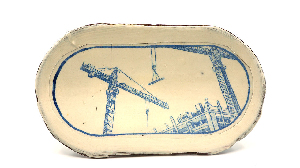 """Cranes at Construction Site"" Sushi Tray"