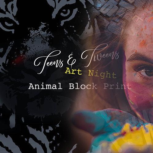 Teen Art Night  Block Print Portrait: TBCl 6.30pm - 9.30pm