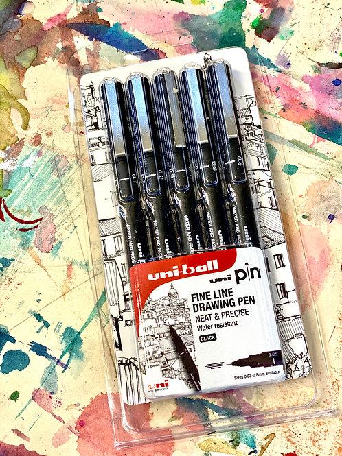Uniball Fine Line Drawing Pen set - water resistant (Black)