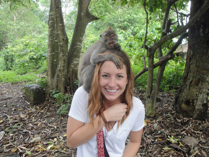 Enjoying monkey forest in Ubud Bali.
