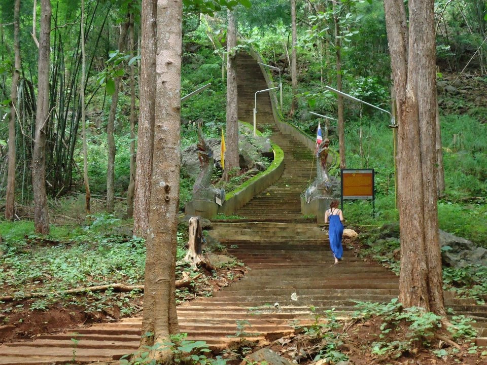 Stairs to a temple in Northern Thailand.