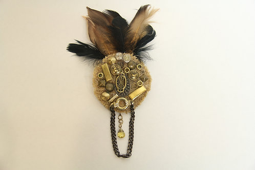 feathered steam punk brooch