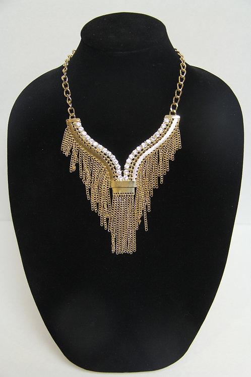 fringed gold chain/w diamond studds
