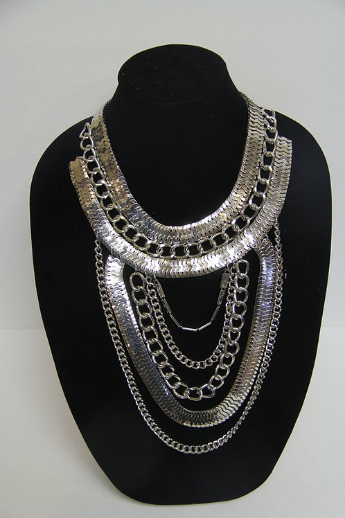 Egyptian inspired silver layered chains