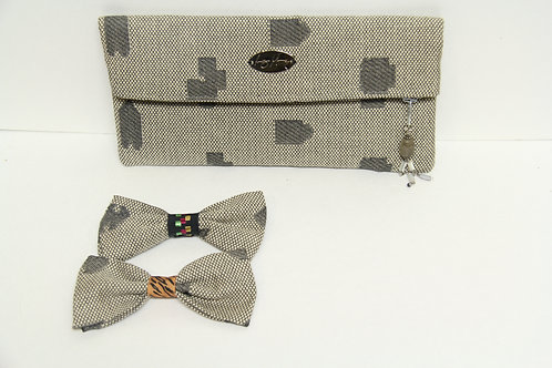 puzzled like bow tie with matching clutch