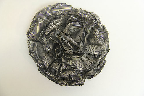 satin rouched gathered rose brooch