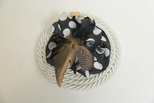 feathered polka dot  roped brooch
