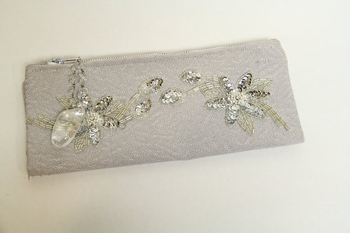 silver appliqued fold over clutch