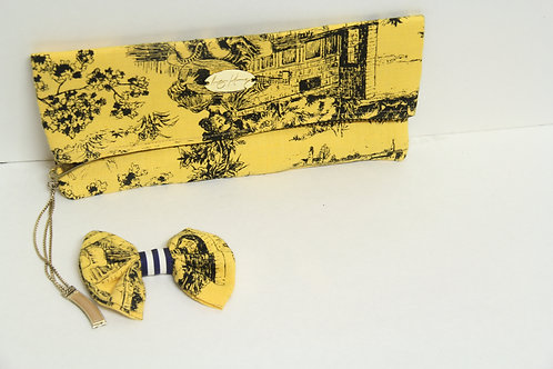 western printed yellow bowtie with clutch