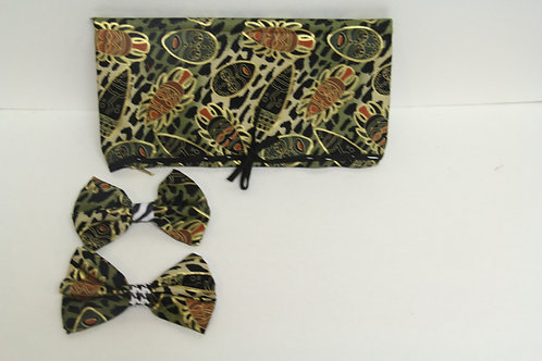 african inspired bowtie with matching clutch