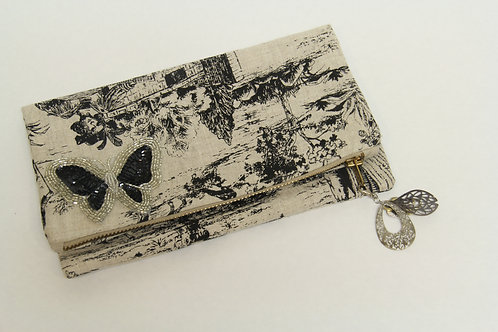 linen printed fold over clutch w/butterfly