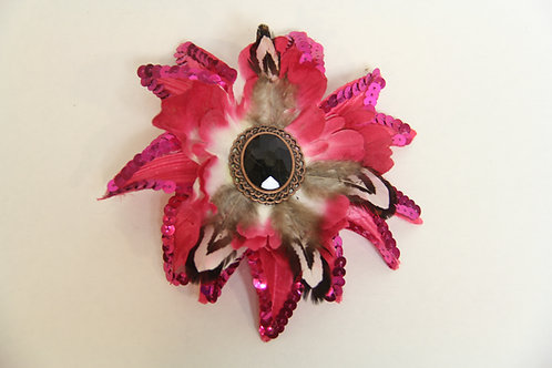 sequined feathered and jeweled brooch