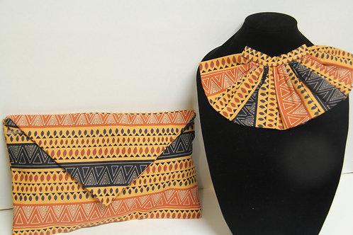 aztec print pleated neck tie with clutch