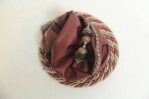 leather beaded roped brooch
