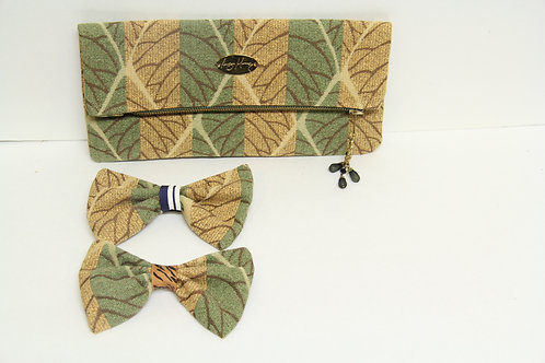 leafy bow tie  with clutch