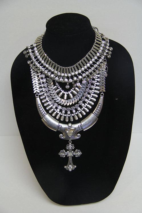 silver multi layed chain with diamond stud cross