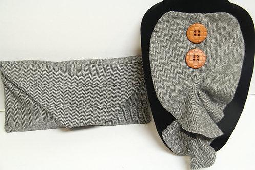 tweed ruffled jabbott neck piece with clutch