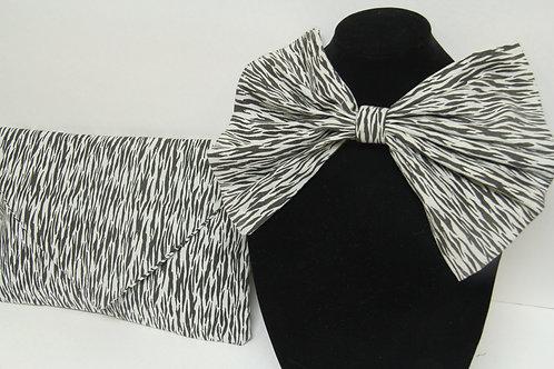 zebra big bow tie with matching purse