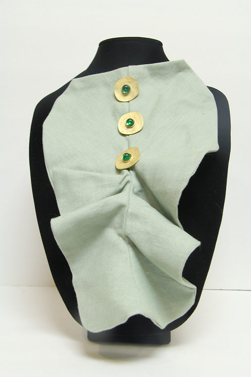 mint green ruffled jabot pin on neck piece