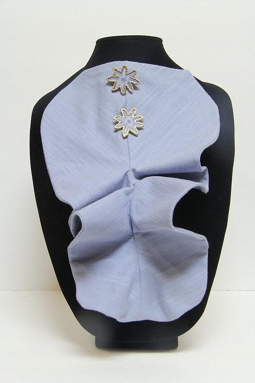 sky blue linen ruffled jabbott collar
