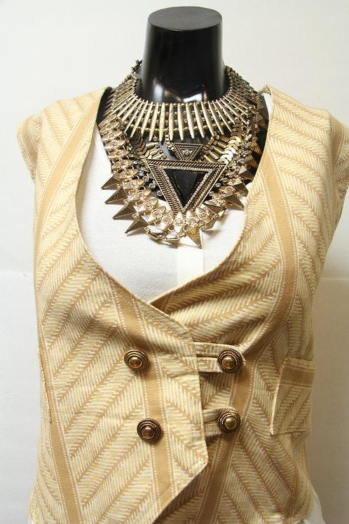 herringbone inspired v-neck vest