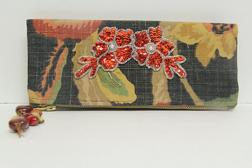 linen printed fold over clutch