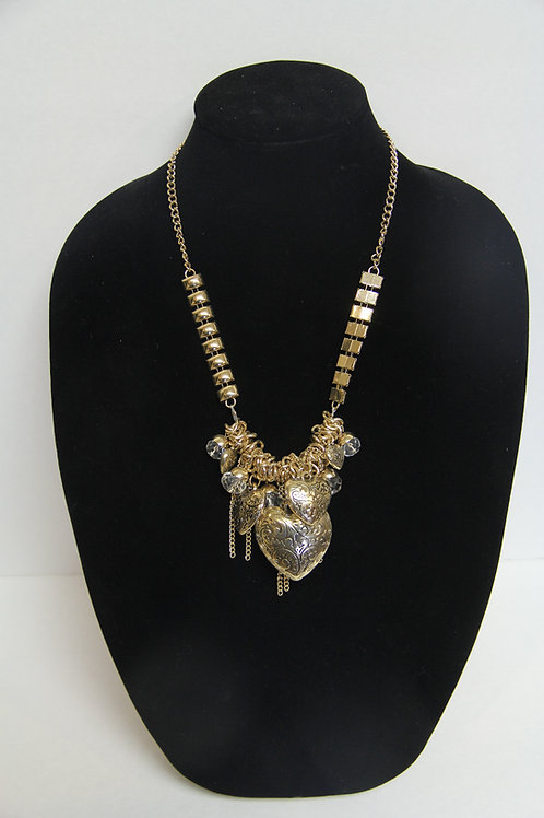 gold heart of the ocean charm necklace