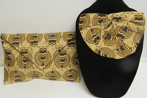 tribal print fanned neck tie with clutch