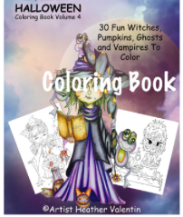 Heather Valentin's Halloween Volume 4 Instant Download Coloring Book