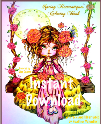 Spring Romantiques Instant Download Coloring Book