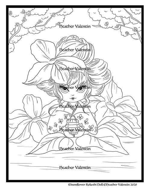 Moonflower Kokeshi Doll