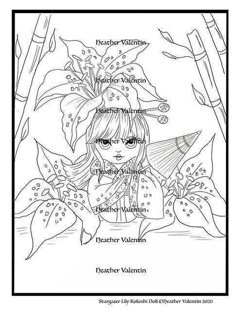 Stargazer Lily Kokeshi Doll