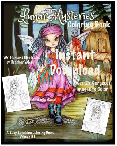 Heather Valentin's Lunar Mysteries Instant Download Coloring Book