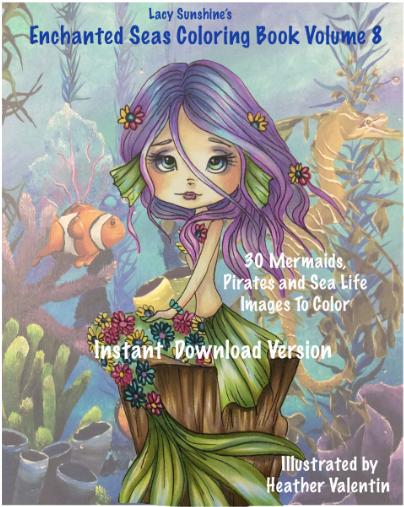 Heather Valentin's Enchanted Seas Instant Download Coloring Book Volume 8