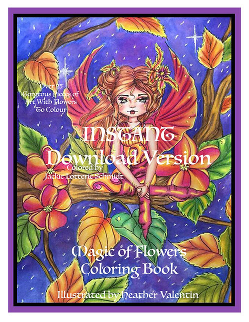 Magic of Flowers Instant Download Coloring Book