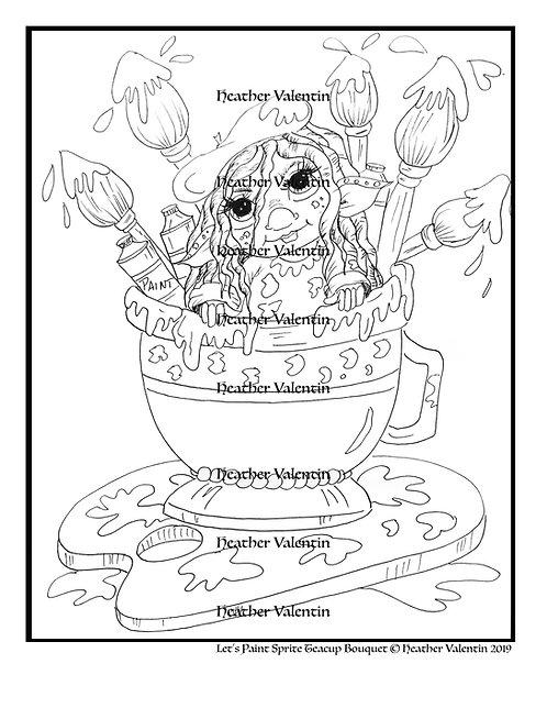 Let's Paint Sprite Teacup Bouquet