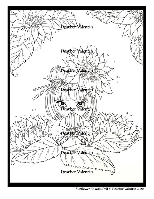 Sunflower Kokeshi Doll